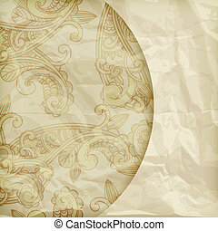 vector retro background with paisley pattern  on crumpled golden foil texture, eps 10, gradient mesh