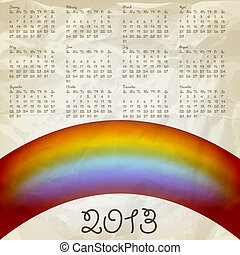vector 2013 calendar on abstract background with rainbow, crumpled paper texture, eps 10, gradient mesh