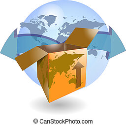 Shipping box with world map