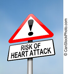 Heart attack risk. - Illustration depicting a red and white...