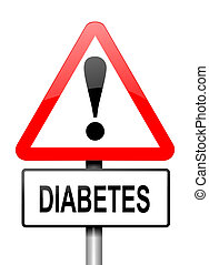 Diabetes warning. - Illustration depicting a red and white...