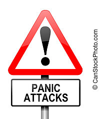 Panic attack warning - Illustration depicting a red and...