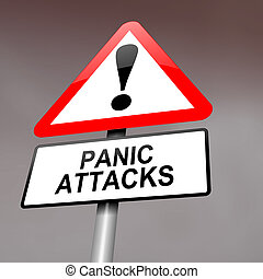 Panic attack warning. - Illustration depicting a red and...