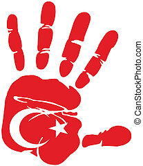 hand print flag of turkey
