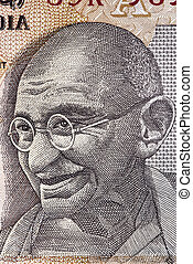 Gandhi on Indian Rupee Note - Portrait of Mahatma Gandhi on...