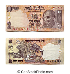 Indian Ten Rupee Note Front and Back over White - Indian ten...