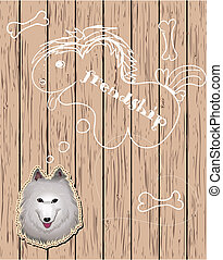 Wooden card with dog dreaming about friends