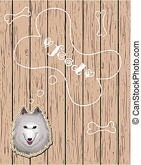 Wooden card with dog dreaming about food