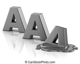 AAA credit rating downgrade 3d illustration