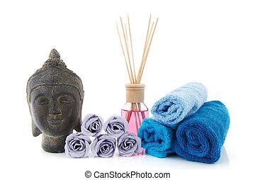 Wellness items - Stilllife with wellness items as buddha...