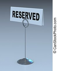 reserved sign 3d illustration