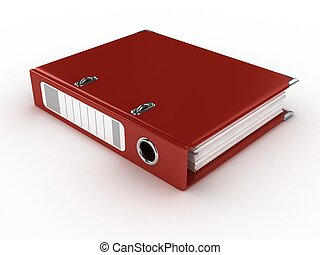 red ring binder isolated - red ring binder isolated on the...