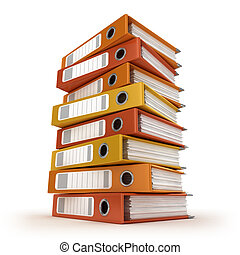 A pile of colorful ring binders isolated on the white...