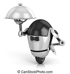 funny robot waiter 3d illustration - funny robot - waiter 3d...