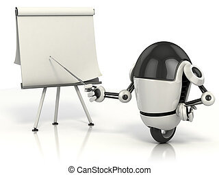 robot pointing on the blank board