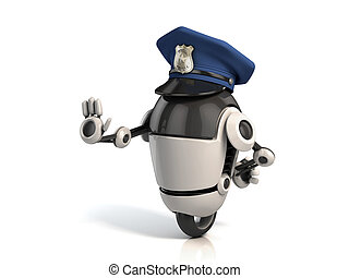 robot policeman 3d illustration