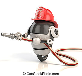 robot firefighter 3d illustration