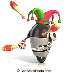 robot jester - entertainer 3d illustration