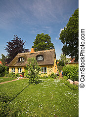 house - traditional house with thatched traditional roof in...