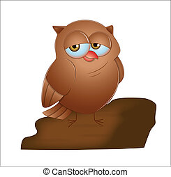 Cartoon Owl - Creative Art Design of Cartoon Owl Bird Vector...