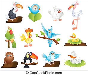 Cute Cartoon Birds - Creative Conceptual Design Art of Cute...