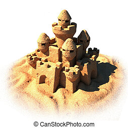 sand castle isolated 3d illustration