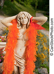Garden statue as Dutch soccer fan - Garden statue dressed as...