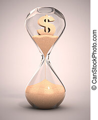 spending money or out of money concept - hourglass,...