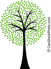 Art tree silhouette isolated on whi - Vector Illustration Of...