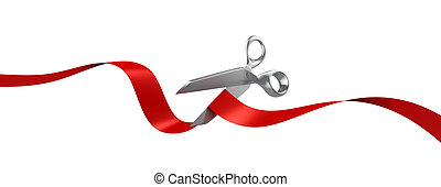 scissors cutting red ribbon 3d illustration