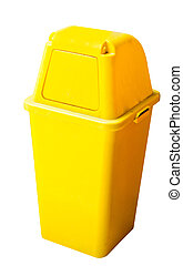 yellow recycle bin on white with clipping path