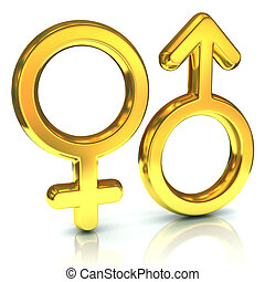 male and female sex symbols, golden, isolated over white...