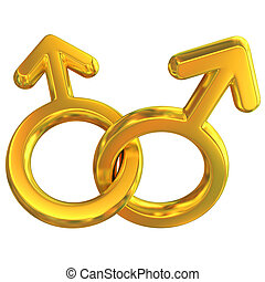two male symbols crossed representing gay relationship,...