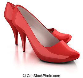 red shoes isolated 3d illustration
