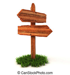 old wooden empty signpost on grass isolated on white...