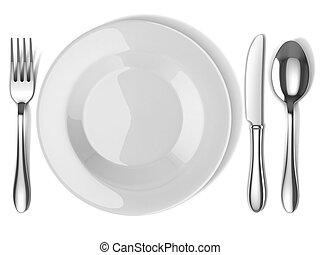 plate and silverware 3d illustration