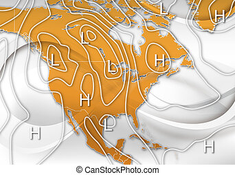 Sample Weather Map of North America - An Abstract Design of...