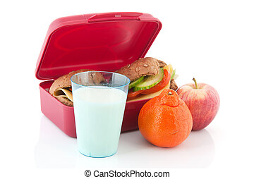 Lunchbox with healthy bread rolls - Pink lunchbox with...