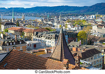 Zurich in the morning - View over Zurich at the morning with...