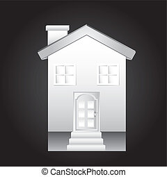 white house over black background vector illustration