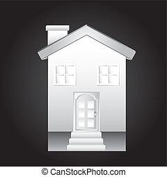 white house over black background. vector illustration