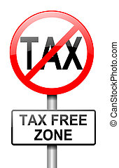 Tax free zone. - Illustration depicting a red and white road...