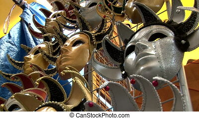Theatrical masks, closeup, sequence
