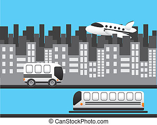transportation with buildings over blue background vector