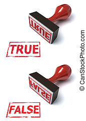 stamp true false 3d illustration