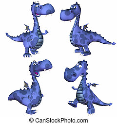 Blue Dragon Pack - 3of3 - Illustration of a pack of four 4...