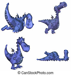 Blue Dragon Pack - 1of3 - Illustration of a pack of four 4...