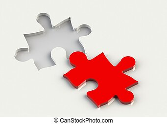 Jigsaw Piece - Rendered artwork with white background