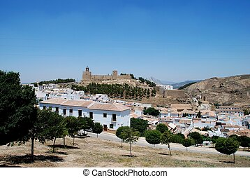 Castle and towhouses, Antequera. - Castle fortress with...