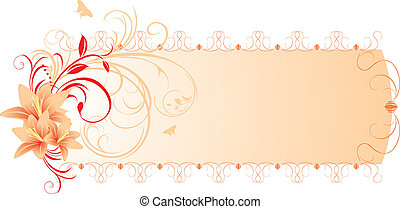 Lilies with floral ornament. Banner